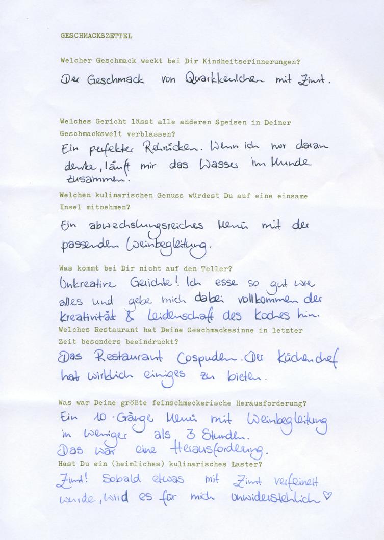 Geschmackszettel: Daniela Undeutsch beantwortet kulinarische Fragen