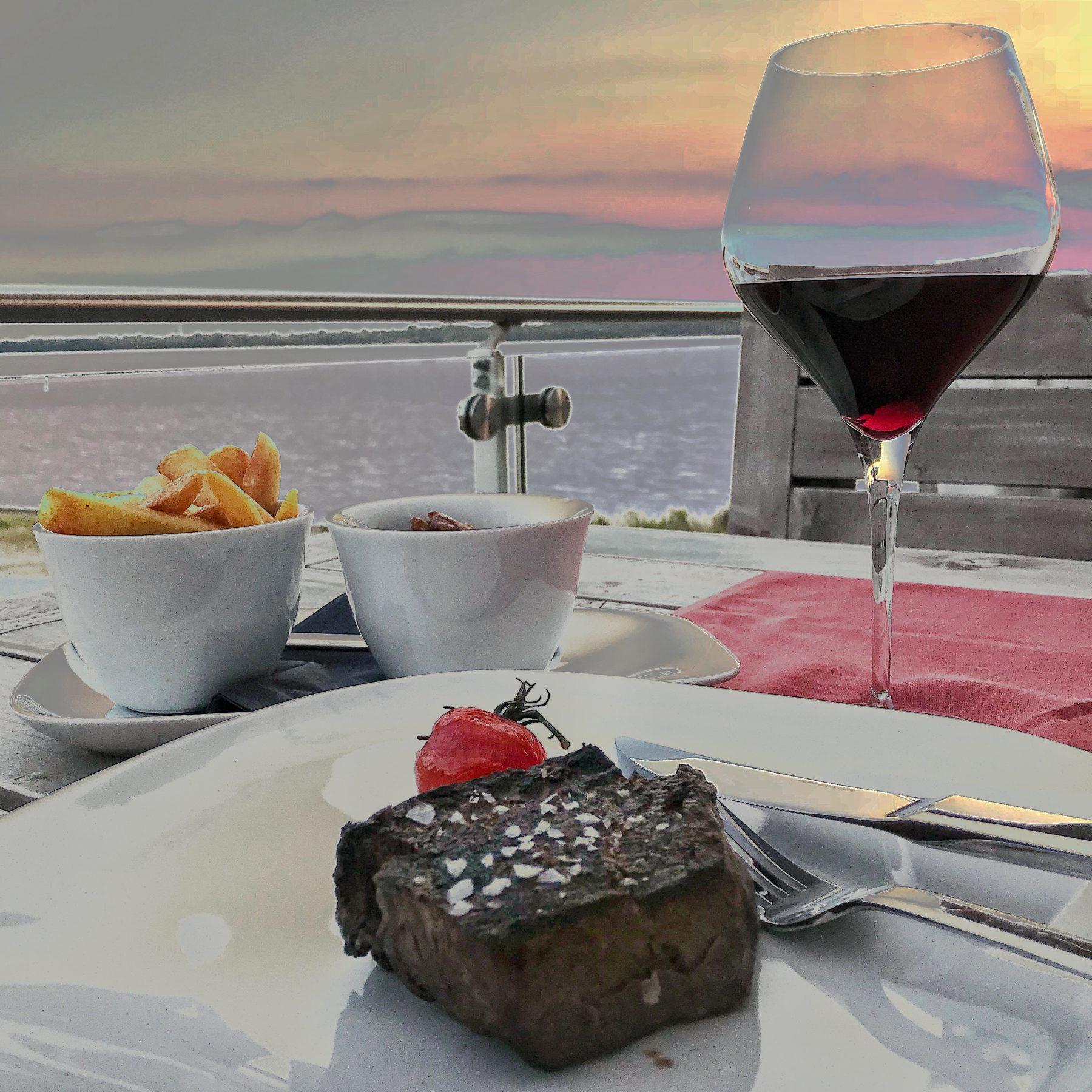 Steak mit Blick auf den Cospudener See Leipzig