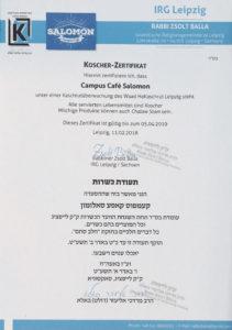 Koscher-Zertifikat im Koscher Restaurant Salomon in Leipzig